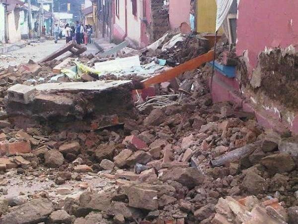 Daños en San Marcos, Guatemala por sismo.